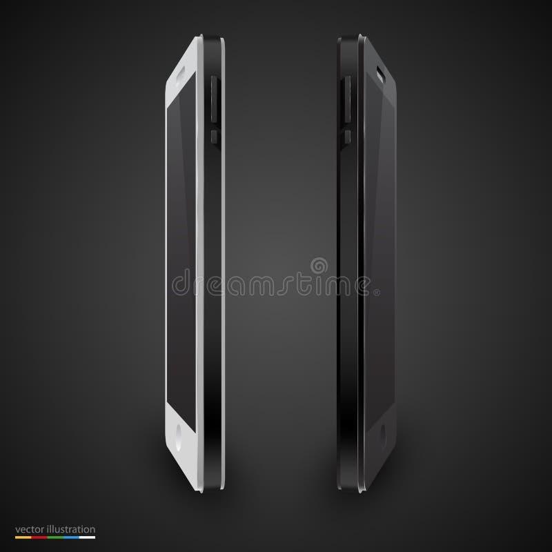 Vector zwart-witte mobiele telefoon royalty-vrije illustratie