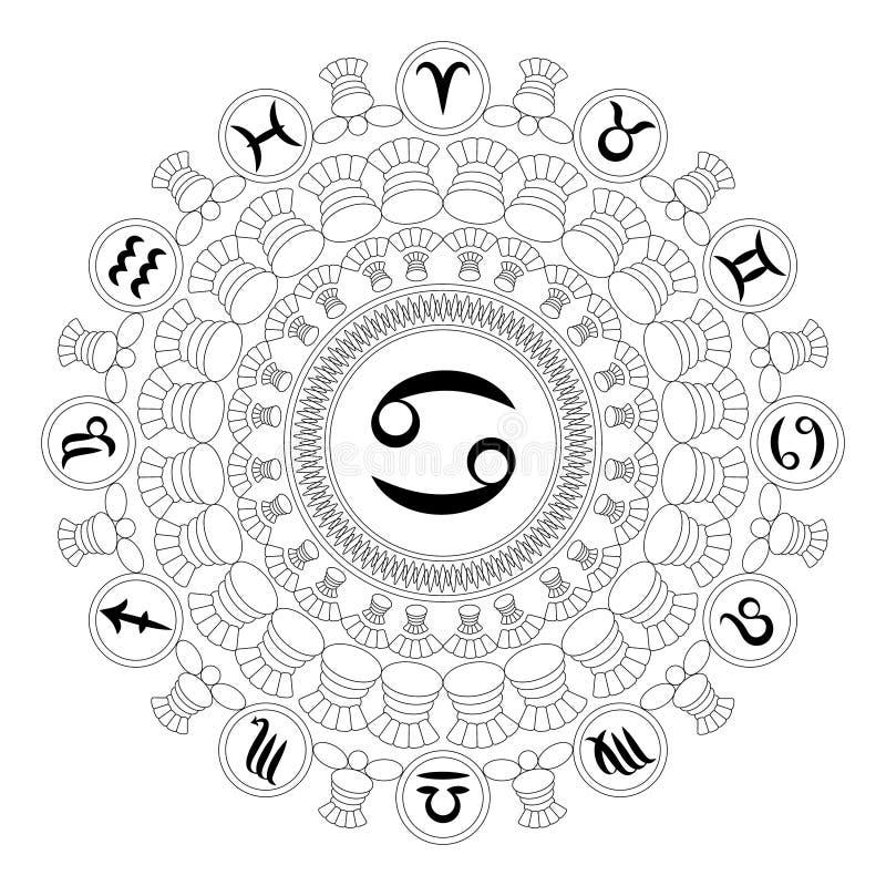 Vector zwart-witte ronde mandala met dierenriemsymbool van kanker - volwassen kleurende boekpagina stock illustratie
