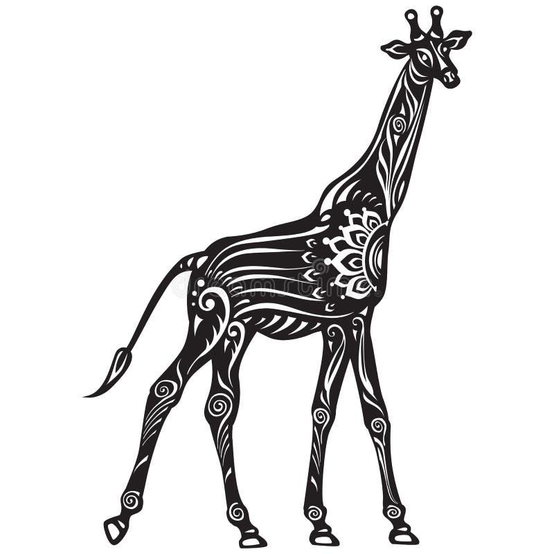 Vector Zwart-witte Verfraaide gestileerde Giraf stock illustratie