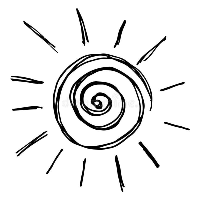 Vector zwart-witte zonillustratie, creatief zwart-wit pictogram voor warm of heet weerontwerp stock illustratie