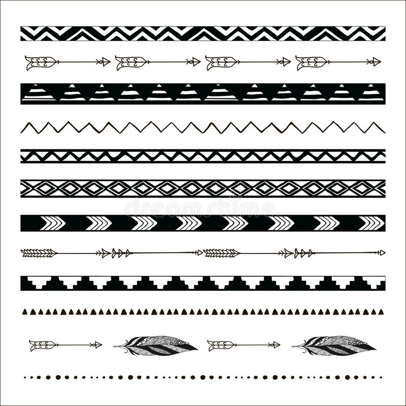 Vector zwarte abstracte stammen naadloze patroongrenzen royalty-vrije illustratie