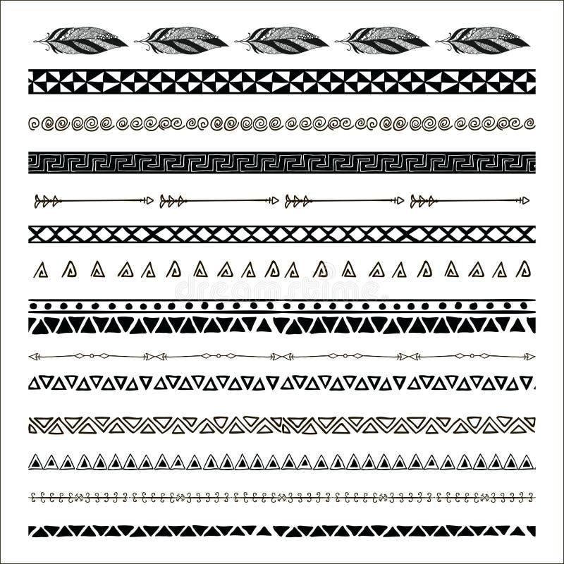 Vector zwarte abstracte stammen naadloze patroongrenzen stock illustratie