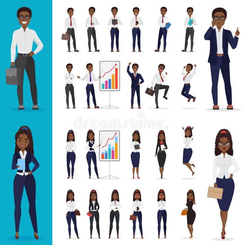 Vector Zwarte Afrikaanse Amerikaanse het Bedrijfsman en bedrijfsvrouwen werk het ontwerpreeks van het bureaukarakter stock illustratie