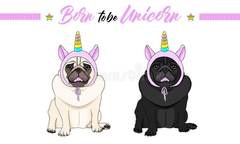 Vector zwarte en fawn pug puppyhonden die, roze bonnet met eenhoornhoorn dragen met regenboogkleuren gaan zitten die vector illustratie