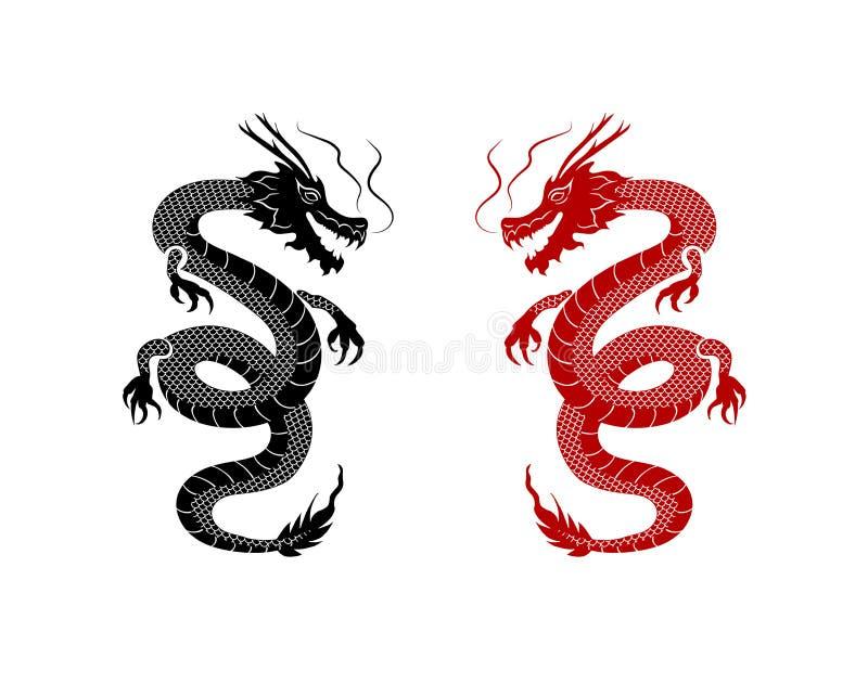 Vector Zwarte en Rode Oosterse Draken op Witte Achtergrond, Tatoegeringskunst, Grafische Elementen vector illustratie