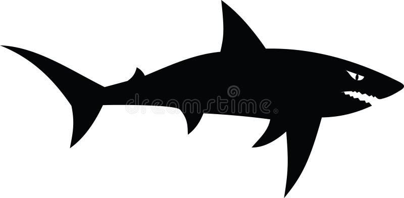 Vector zwarte geïsoleerde haai royalty-vrije stock foto's