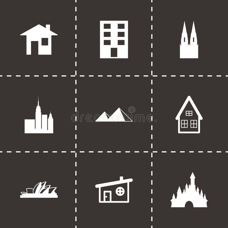 Vector zwarte geplaatste gebouwenpictogrammen royalty-vrije illustratie