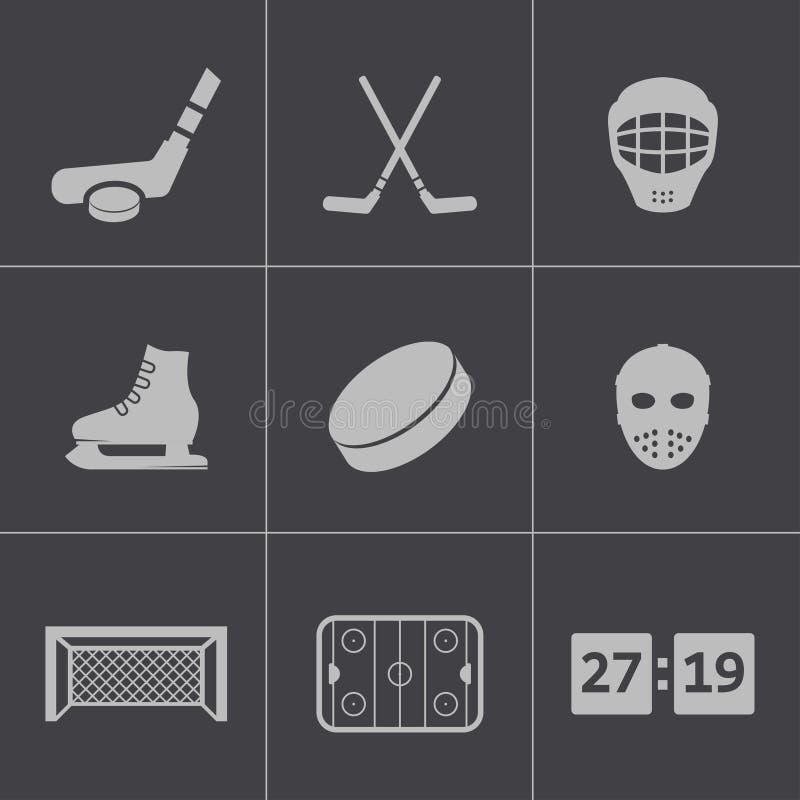 Vector zwarte geplaatste hockeypictogrammen vector illustratie