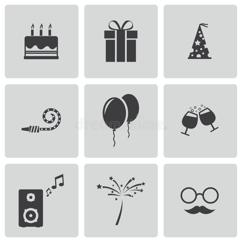 Vector zwarte geplaatste verjaardagspictogrammen royalty-vrije stock afbeelding