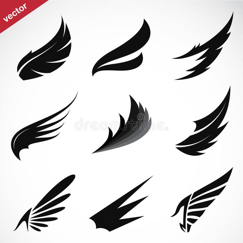 Vector zwarte geplaatste vleugelpictogrammen