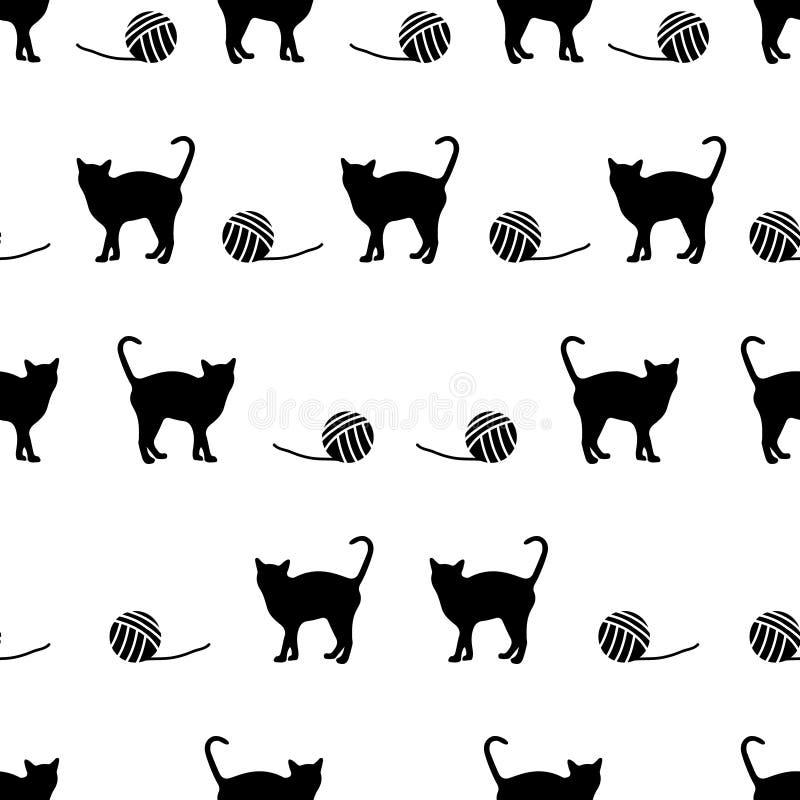 Vector zwarte katten en bal van wol naadloos patroon royalty-vrije illustratie