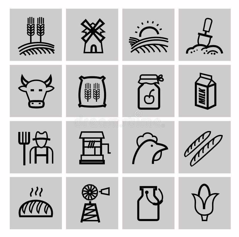 Vector zwarte landbouw en de landbouw geplaatste pictogrammen royalty-vrije illustratie