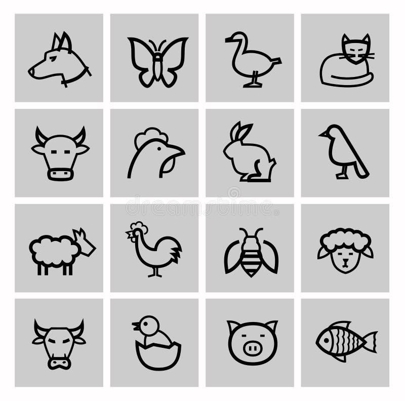Vector zwarte landbouw en de landbouw geplaatste pictogrammen vector illustratie