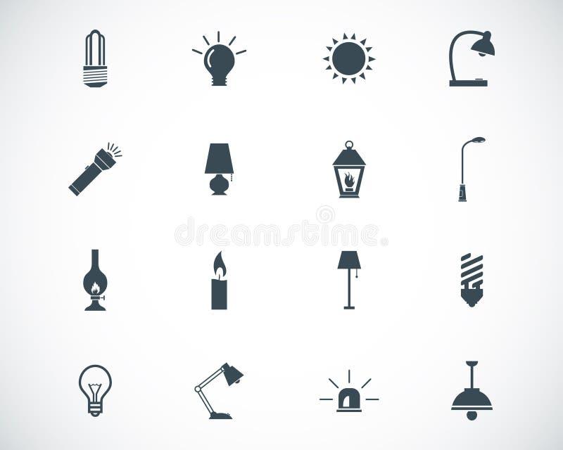 Vector zwarte lichte pictogrammen stock illustratie