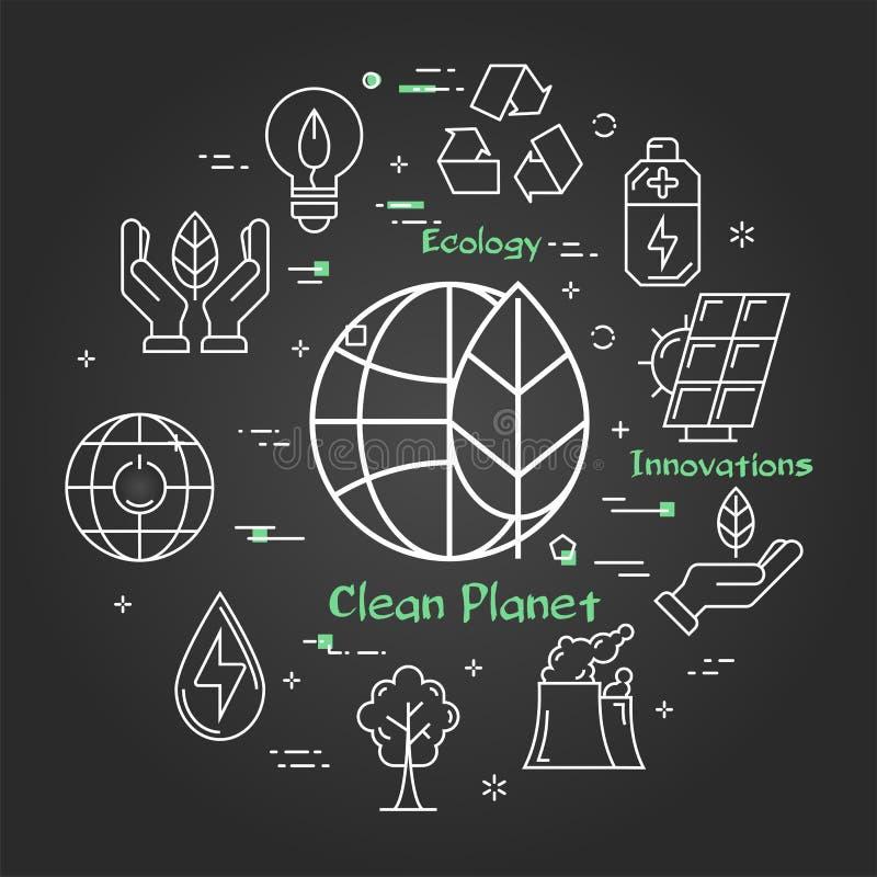 Vector zwarte lineaire banner van eco schone planeet royalty-vrije illustratie