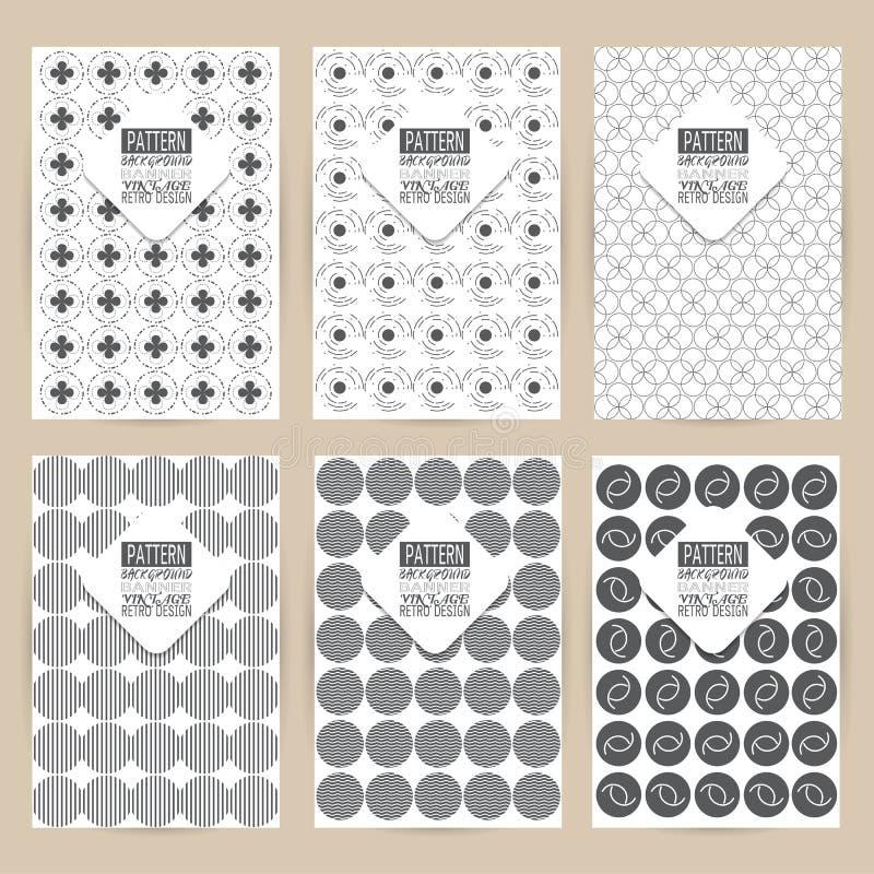 Vector zwarte patroonreeks van Uitstekende retro banner als achtergrond stock illustratie