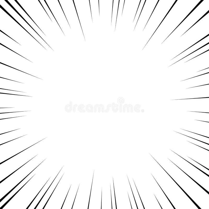 Vector zwarte radiale lijnen voor strippagina, superheroactie De snelheid van het Mangakader, motie, explosieachtergrond Geïsolee vector illustratie