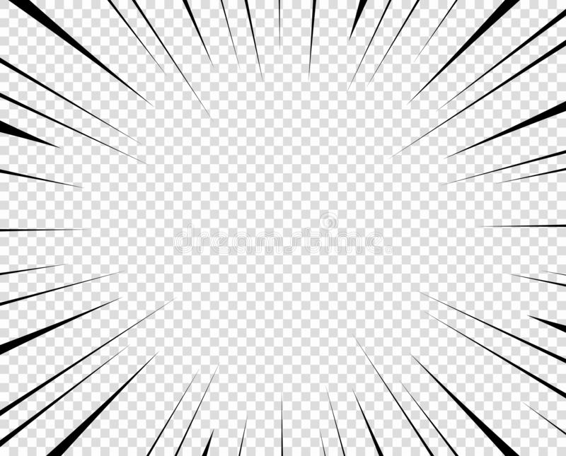Vector zwarte radiale lijnen voor strippagina, superheroactie De snelheid van het Mangakader, motie, explosieachtergrond Geïsolee stock illustratie