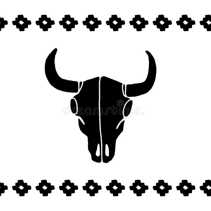 Vector zwarte schedelsbuffels stock illustratie