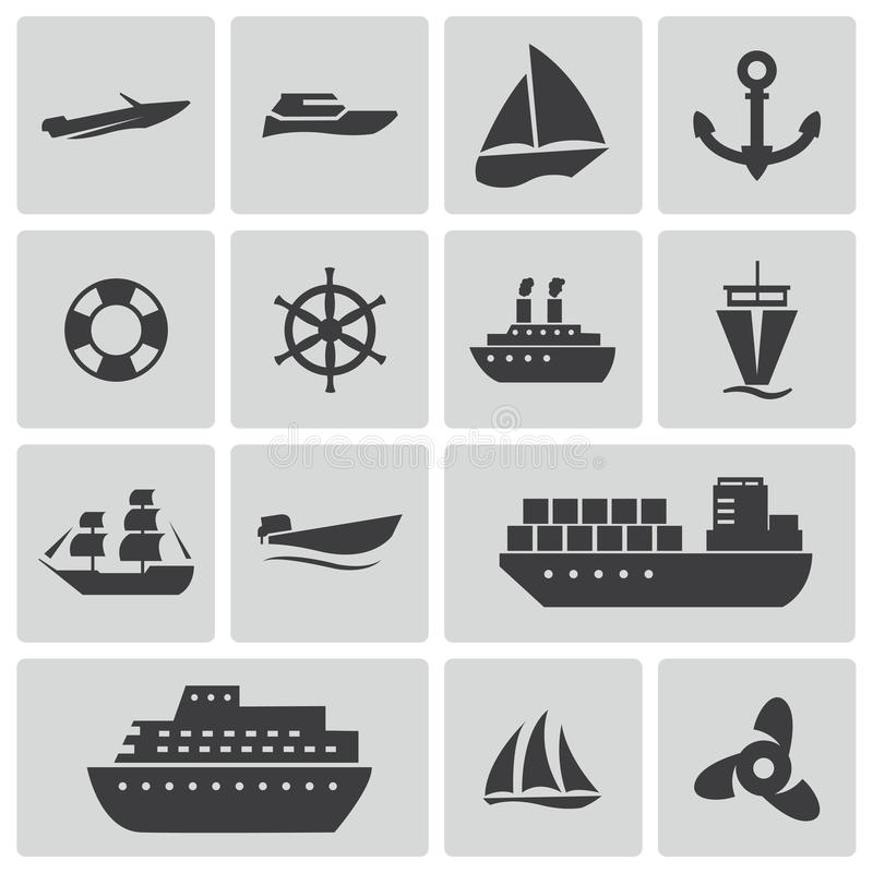 Vector zwarte schip en boot geplaatste pictogrammen stock afbeeldingen