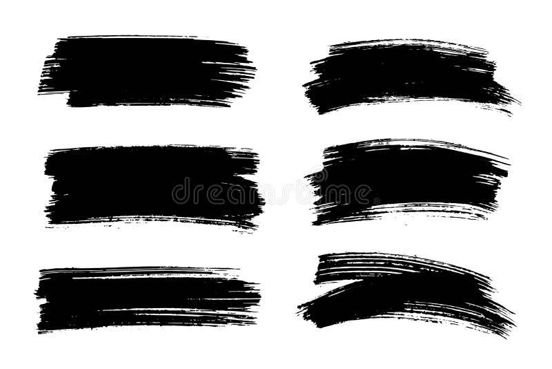 Vector zwarte verf, de slag van de inktborstel, textuur