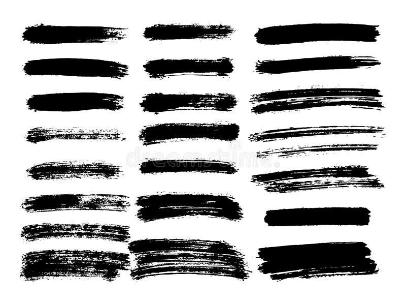 Vector zwarte verf, de slag van de inktborstel, borstel, lijn of textuur Di stock illustratie