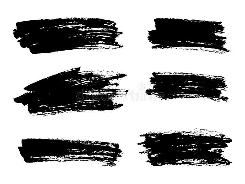 Vector zwarte verf, de slag van de inktborstel, borstel, lijn of textuur Di royalty-vrije illustratie