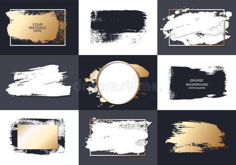 Vector zwarte verf, de slag van de inktborstel, borstel, lijn of textuur Element, het vakje, het kader of de achtergrond van het  royalty-vrije illustratie