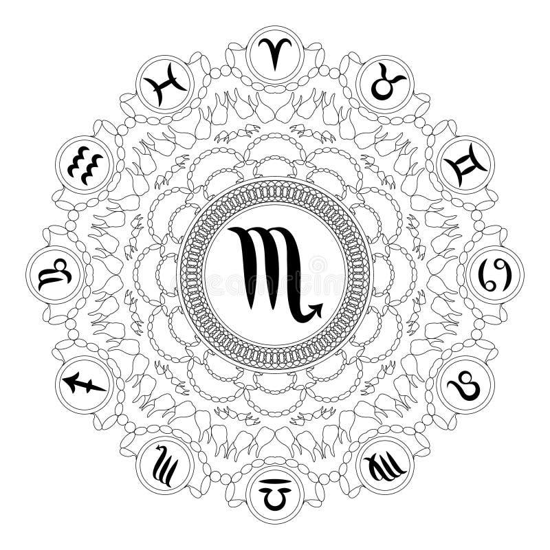 Vector zwarte witte ronde geometrische mandala met dierenriemsymbool van Schorpioen - volwassen kleurende boekpagina royalty-vrije illustratie