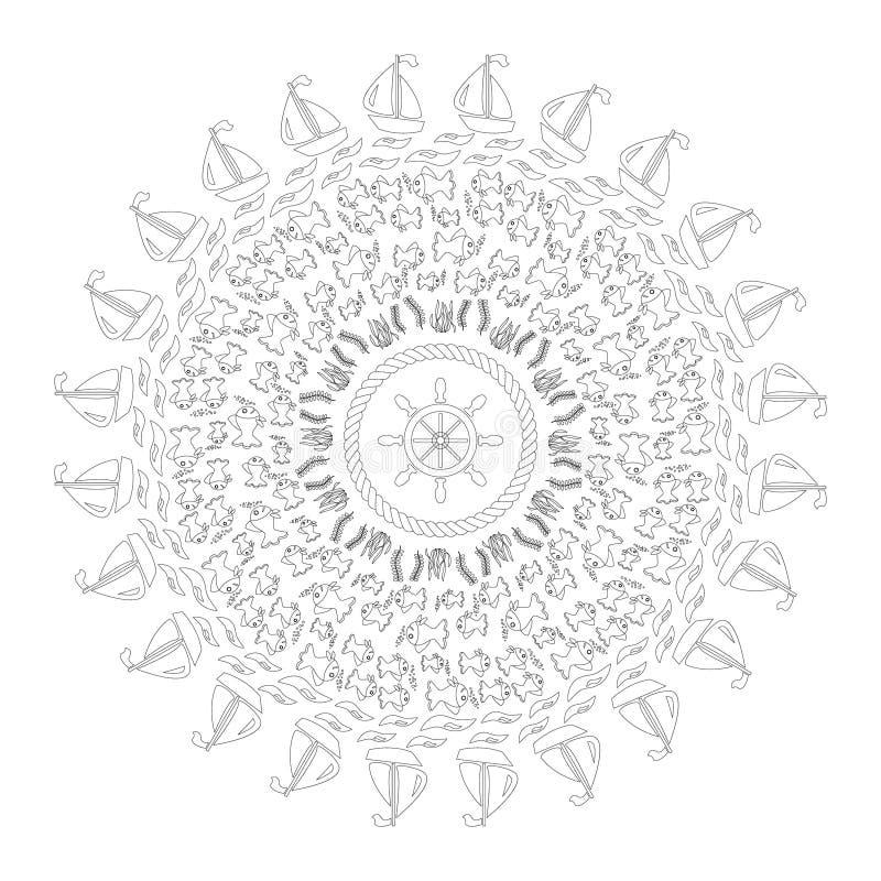 Vector zwarte witte ronde marinemandala met symbolen - de zeevissen, golven, schepen, onderwaterinstallaties, verdraaiden binnen  vector illustratie