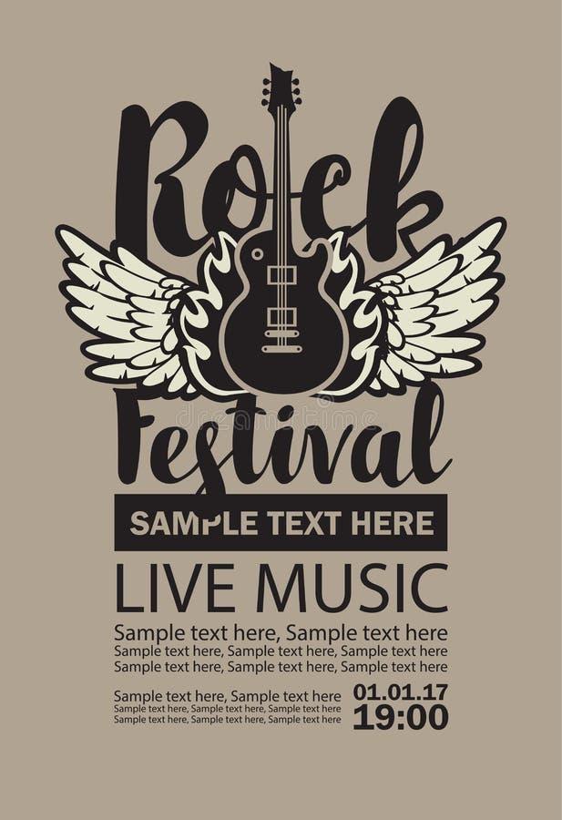 Vectoraanplakbord voor de levende muziek van het Rotsfestival royalty-vrije illustratie