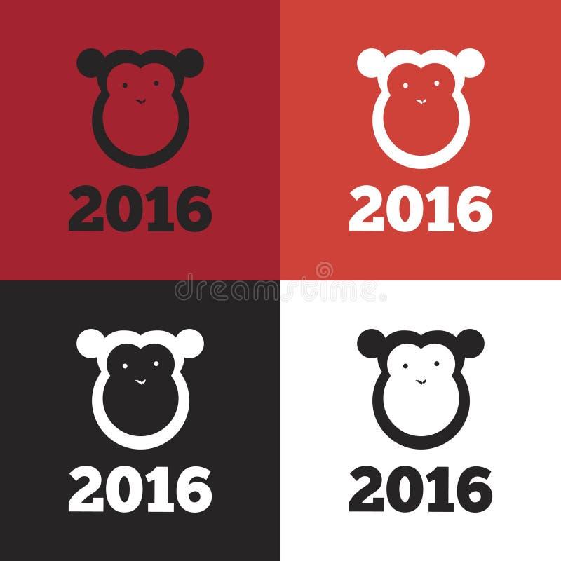 Vectoraap van het jaar van 2016 stock illustratie