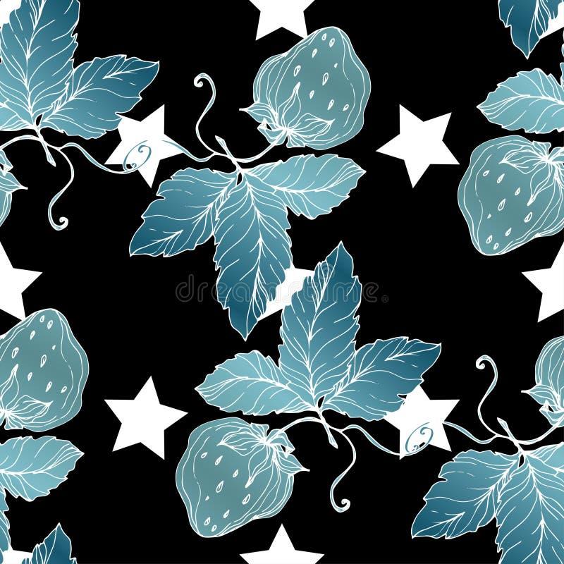 Vectoraardbeivruchten Blauw gegraveerd inktart. Naadloos patroon als achtergrond stock illustratie