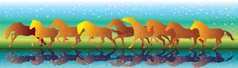 Vectorachtergrond die met oranje paarden galop op het water in werking stellen royalty-vrije illustratie