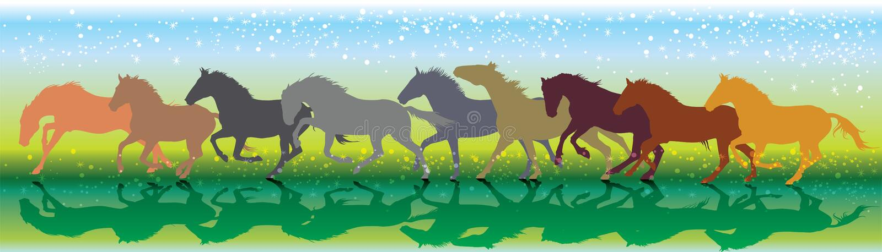 Vectorachtergrond die met paarden galop in werking stellen royalty-vrije illustratie