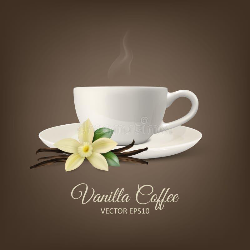 Vectorachtergrond met 3d Realistische Samenstelling - Witte Kop van Koffie, Geurige Verse Vanillebloem, Droog Zaad vector illustratie
