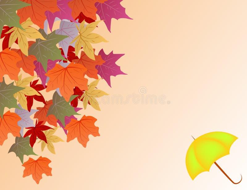 Vectorachtergrond met de herfstbladeren en paraplu royalty-vrije illustratie