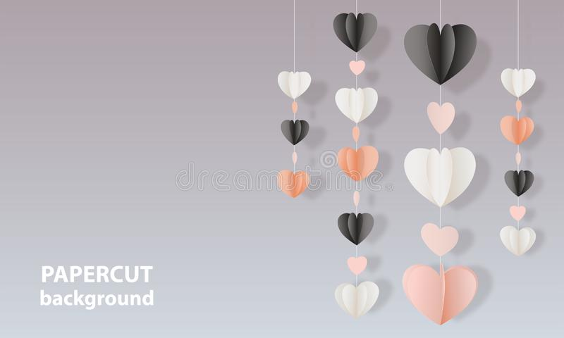 Vectorachtergrond met de roze, zwart-witte kleurendocument harten van de besnoeiingsvorm 3D abstracte document kunststijl, ontwer vector illustratie