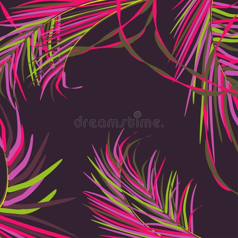 Vectorachtergrond met decoratieve palmbladen in keerkringen op donkere achtergrond van nachthemel Heldere in neonkleuren stock illustratie
