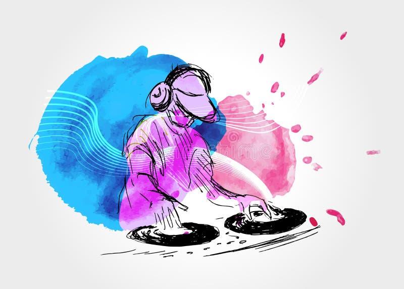 Vectorachtergrond met DJs royalty-vrije illustratie