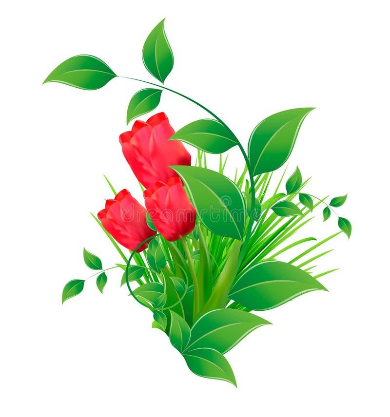 Vectorachtergrond met een beeld van vijf rode tulpen/bloemenachtergrond stock illustratie