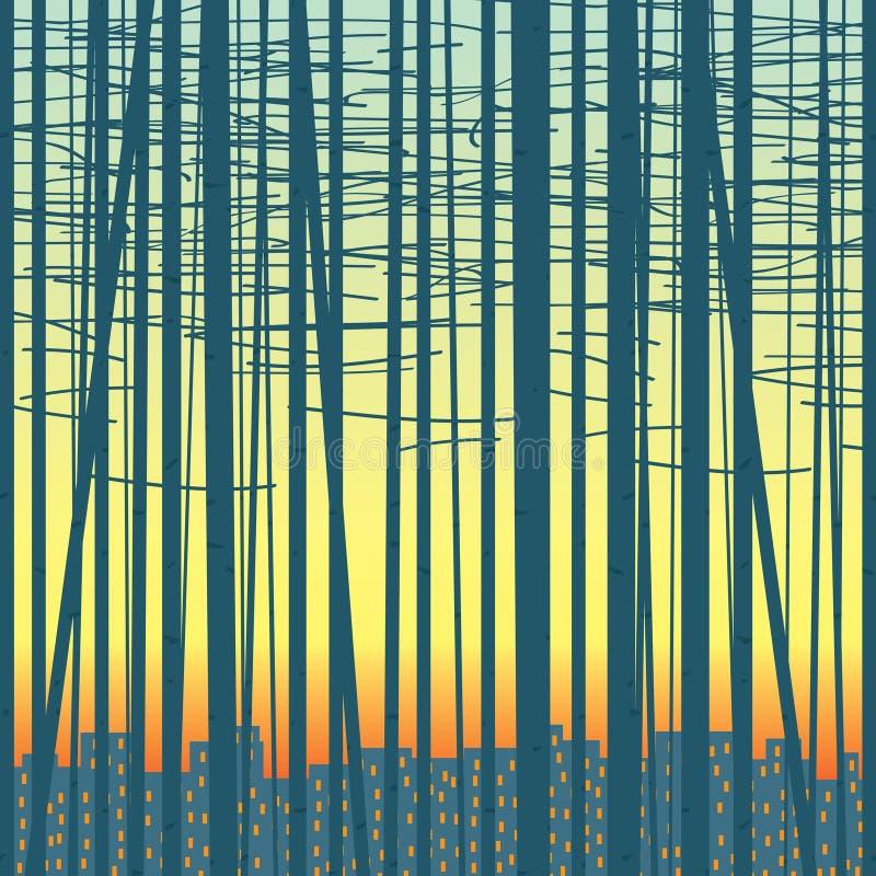 Vectorachtergrond met een bosje tegen de stad royalty-vrije illustratie