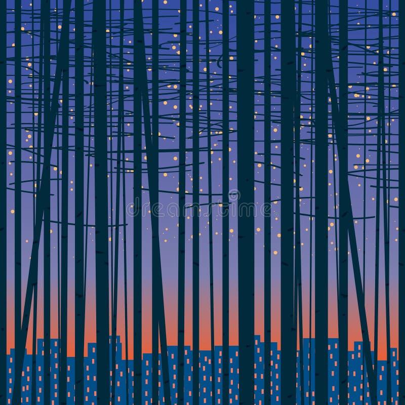 Vectorachtergrond met een bosje tegen de stad vector illustratie