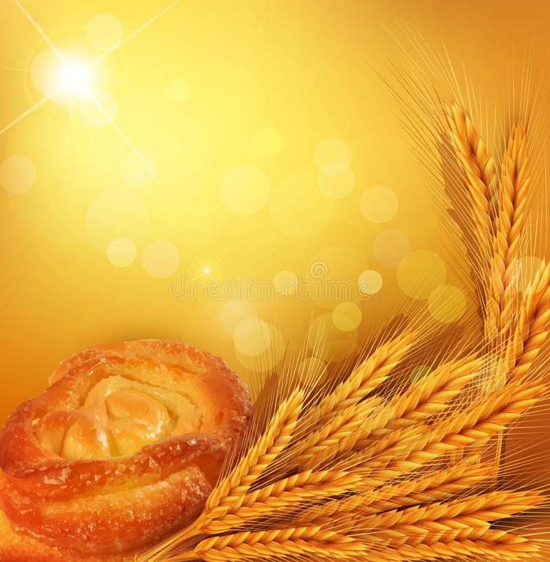 Vectorachtergrond met gouden oren van tarwe, broodje, su stock illustratie