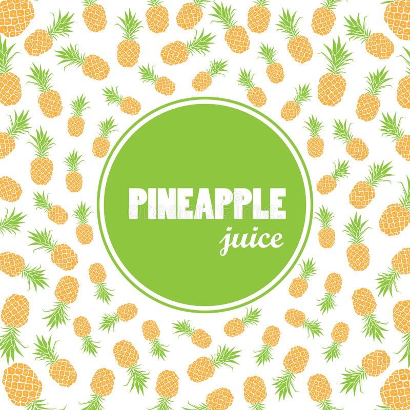 Vectorachtergrond met hand getrokken ananassen en etiket - ananassap stock illustratie