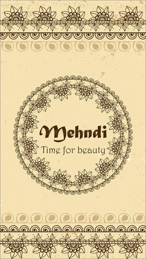 Vectorachtergrond met hand getrokken grenzen en kader in mehndi Indische stijl Inzameling van patroonborstels binnen stock illustratie