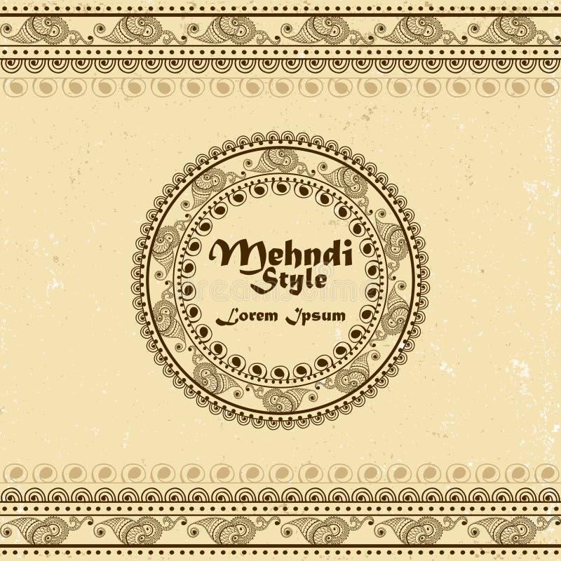 Vectorachtergrond met hand getrokken grenzen en kader in mehndi Indische stijl Inzameling van patroonborstels binnen royalty-vrije illustratie