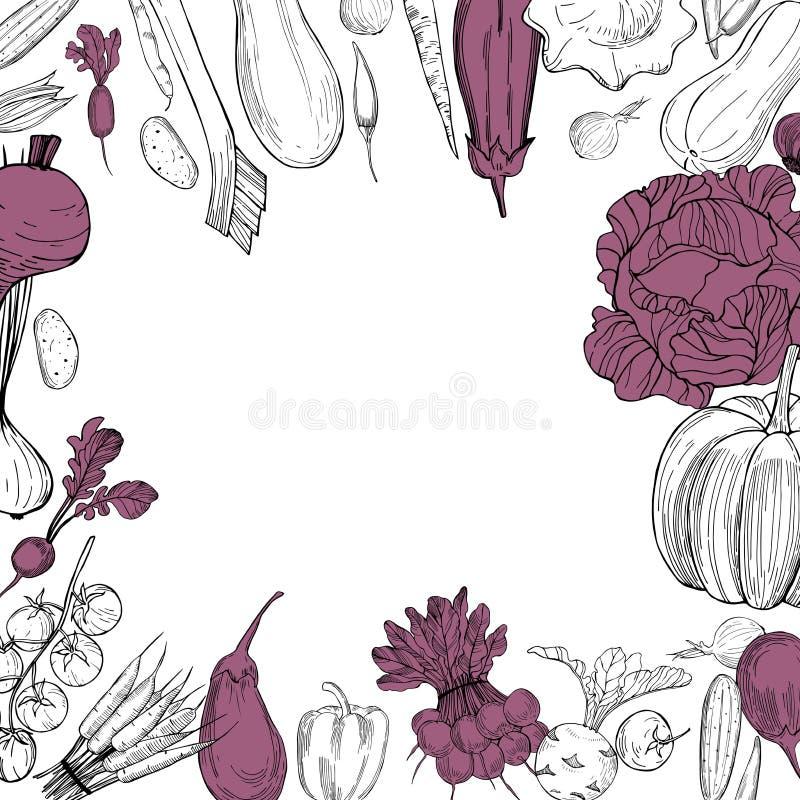 Vectorachtergrond met hand getrokken groenten stock illustratie