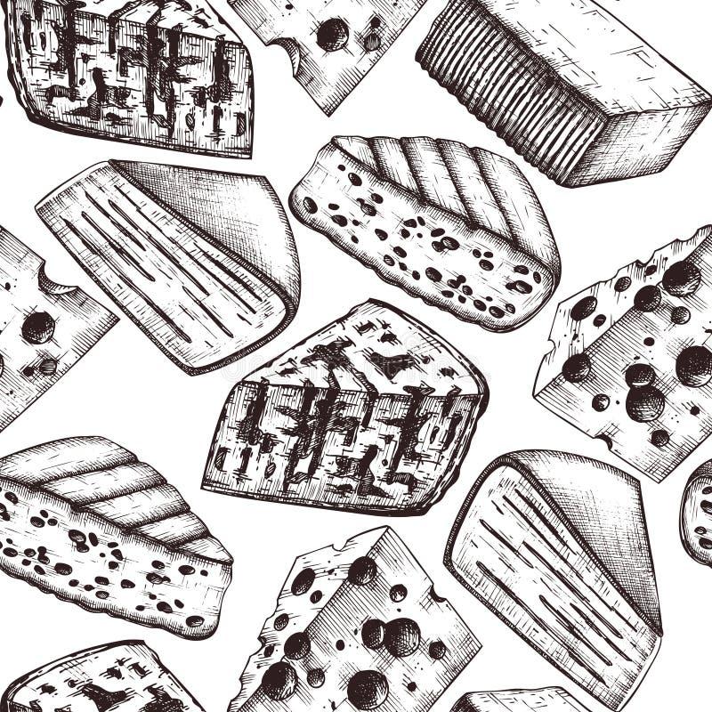 Vectorachtergrond met kaasschetsen De hand getrokken illustraties van het restaurantvoedsel op witte achtergrond Uitstekend naadl stock illustratie