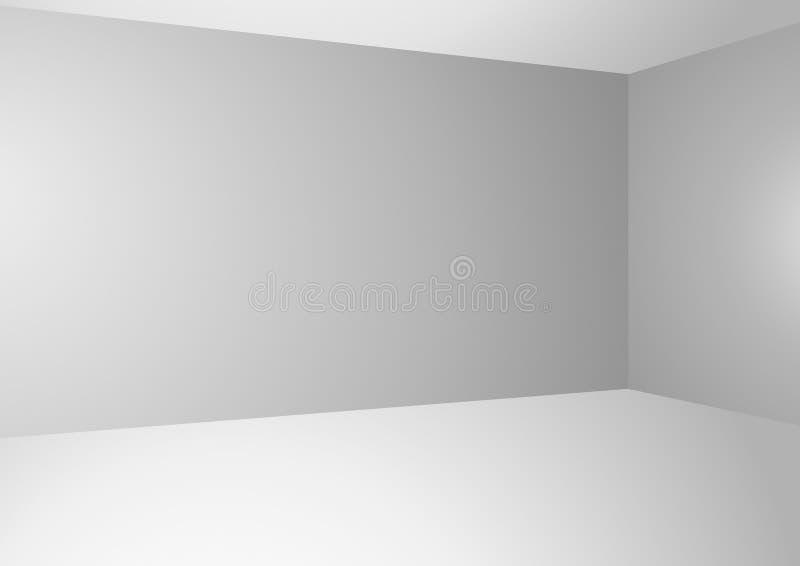 Vectorachtergrond met lichtgrijze gradiëntmuren en witte vloer royalty-vrije illustratie